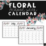 Floral Boho 2018-2019 School Calendar