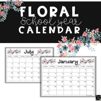 Floral Boho 2016-2017 School Calendar