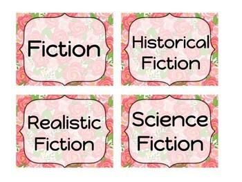 Floral Book Bin Labels- EDITABLE