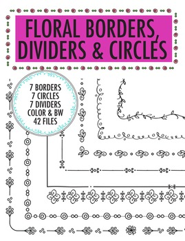 Floral Flower Borders, Circles and Page Divider Clip Art