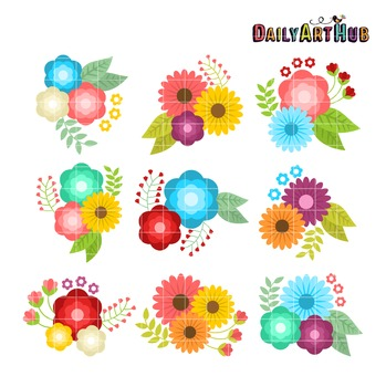 Floral Bouquet Clip Art - Great for Art Class Projects!