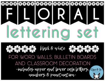 Floral Bulletin Board Lettering Set - Black & White