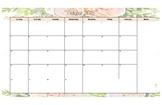 Floral Calendar 2018-2019 11 x 17 printable