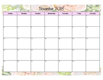 Floral Calendar 2018-2019 8.5x11 printable by ...