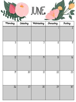 Floral Calendar for Binder