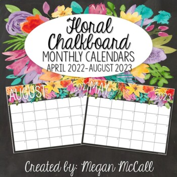 Floral Chalkboard: 2018-2019 Monthly Calendars
