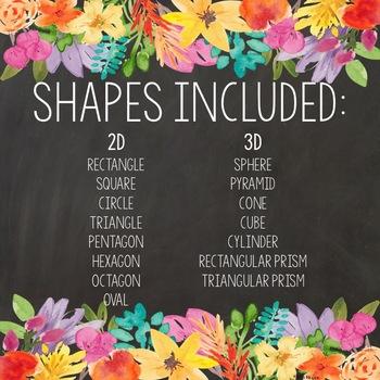 Floral Chalkboard: 2D & 3D Shape Posters