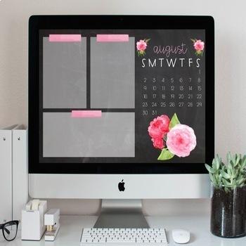 Floral Chalkboard Desktop Organization Wallpaper + Calendar