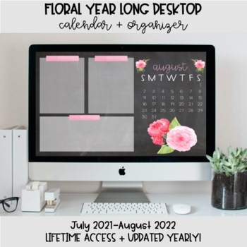 Chalkboard Floral Desktop Organization Wallpaper + Calendar