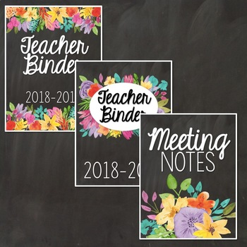 Floral Chalkboard Editable Binder Covers and Dividers