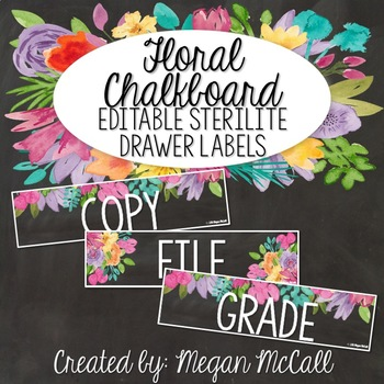 Floral Chalkboard: Editable Sterilite Drawer Labels