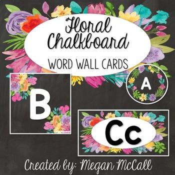 Floral Chalkboard Freebie: Word Wall Letter Cards (3 formats)