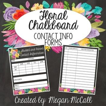 Floral Chalkboard Parent Contact Log