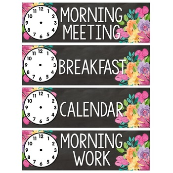 Floral Chalkboard: Schedule Cards with Clock Faces