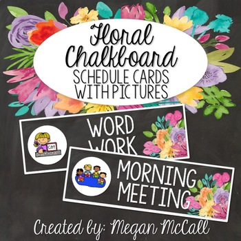 Floral Chalkboard: Schedule Cards with Pictures