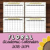 Floral Chic Monthly Academic Calendar 2018-2019