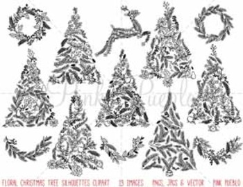Floral Christmas Tree Silhouettes Clipart Clip Art, Christmas Holiday Tree