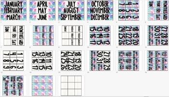 Floral Classroom Calendar Set