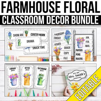 Floral Classroom Decor Bundle EDITABLE, Shiplap Classroom Decor Bundle