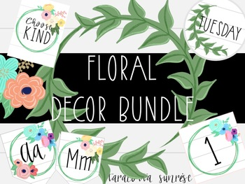 Floral Classroom Decor and Clipart Bundle: Editable and Growing!