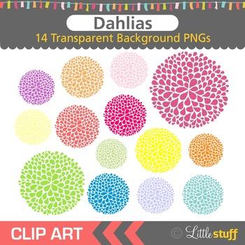 Floral Clip Art, Dahlia Clipart, Colorful Flowers Clipart