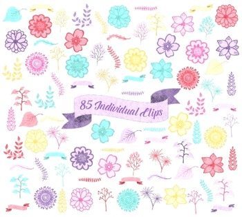 Floral Clip Art, Flower Clipart, Painted Flowers Leaves and Branches, Watercolor
