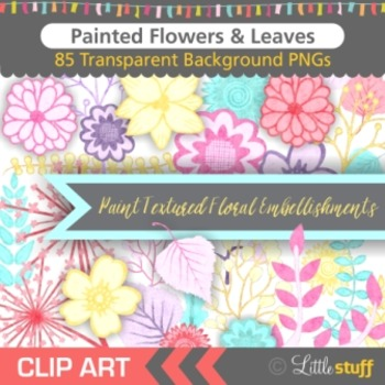 Floral Clip Art, Flower Clipart, Painted Flowers Leaves an