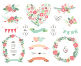 Floral Clip art Floral wreaths bunting banner save the dat