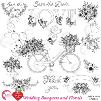 Floral Clipart Digital Stamps, Shabby Chic, Floral Bouquet Clipart, AMB-1830