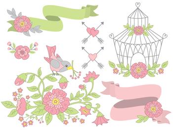 Floral Clipart - Digital Vector Flowers, Bouquet, Birdcage, Wedding Clip Art