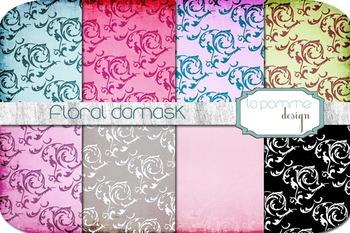 Floral Damask Bright Patterned Digital Paper Pack