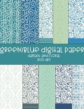 Floral/Damask Digital Papers - 10 pages total - greens and blues