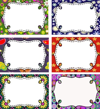 Floral Designs - Editable - 12 Tags for the classroom