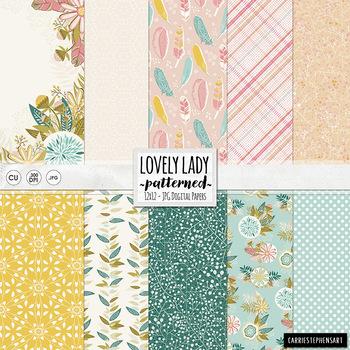 Floral Digital Paper, Lovely Lady