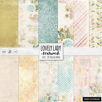 Feminine Floral Digital Paper, Textured Shabby Chic Backgr