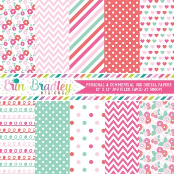 Floral Digital Paper Pack in Pink and Aqua Blue