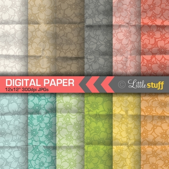Floral Digital Paper Pack with Folded Paper Effect