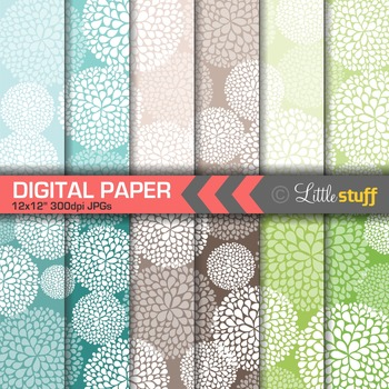 Floral Digital Papers, Dahlias Digital Backgrounds, Turquoise, Green, Brown