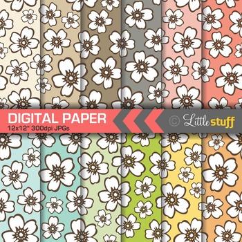 Floral Digital Papers, Hawaiian Prints Digital Backgrounds & Patterns