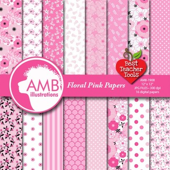 Floral Digital Papers, Pink Floral Papers, Pink Shabby Chic Florals  AMB-1908