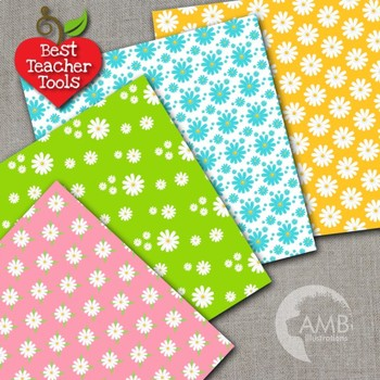 Floral Digital papers, Bright Colors DAISY Paper Patterns, AMB-2401