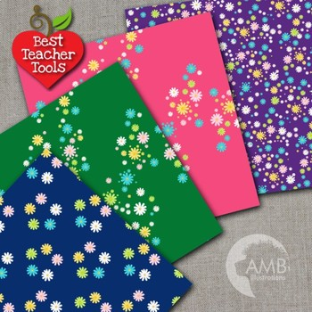 Floral Digital papers, Daisy paper patterns, Dark colors, AMB-2402