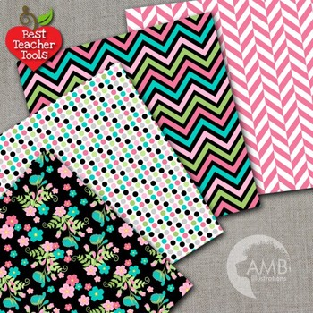 Floral Digital papers, Geometric papers, AMB-1923