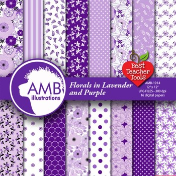 Floral Digital papers, Purple Flowers Backgrounds AMB-1923