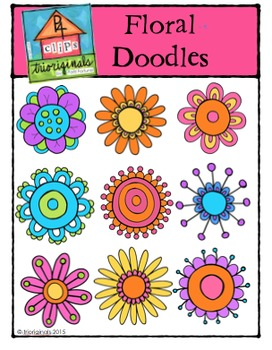 Floral Doodles {P4 Clips Trioriginals Digital Clip Art]
