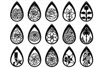 Floral Earrings SVG, Teardrop Earrings, Pendant SVG files