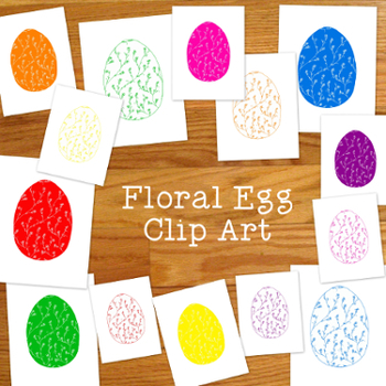 Floral Eggs Clip Art PNG JPG Bright Colors Spring Commerci