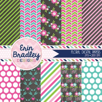 Floral Elements Digital Paper Pack in Pink & Blue