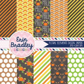 Floral Elements Fall Digital Papers
