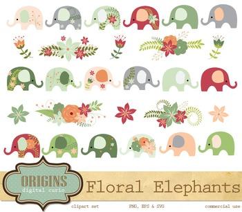 Floral Elephants Clipart Clip Art